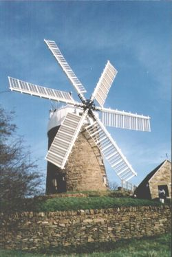 Restored six sailed working windmill at Heage, Derbyshire