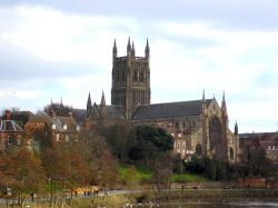 Worcester Cathedral from the River Severn Bridge