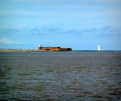 Fort Perch Rock & Perch Rock Lighthouse from the Mersey Ferry.