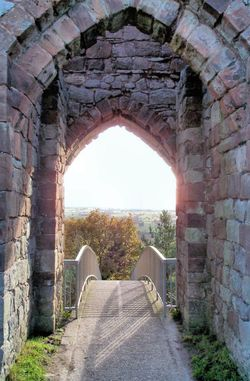 Looking outwards from the Inner Gatehouse, Beeston Castle in Cheshire.