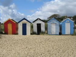 Huts at the beach front. Southwold, Suffolk
