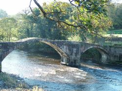 Old Roman Bridge over river Hodder at Hurst Green Nr. Ribchester, Lancashire.