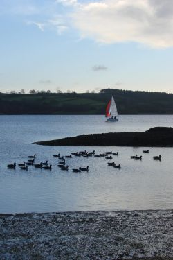 Boating on Carsington Water, near Ashbourne, Derbyshire.
