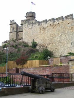 Outside Lincoln Castle, Lincoln, Lincolnshire.