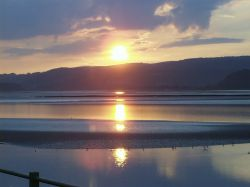 Arnside in Cumbria, sunset over the Kent estuary, September 2006.