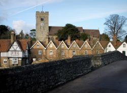 Aylesford Church from the old bridge. Kent