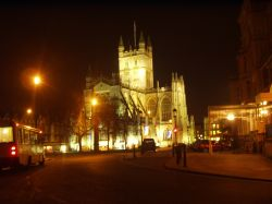 A view of Bath Abbey lit up at night, taken on 19th December 2006.