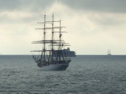 Portsmouth, Hampshire. Tall ships off of Spithead Anchorage.