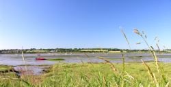 A Wide angle view of the River Stour at Mistley, Essex, where there are usually hundreds of Swans.