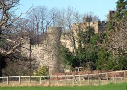 Hawarden Castle, Hawarden, Flintshire, taken from the Cricket Club.