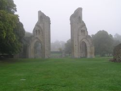 Glastonbury Abbey in Somerset in the early morning.