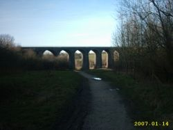 Reddish Vale, viaduct on winter's evening.