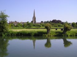 The River Thames at Lechlade, Gloucestershire, looking towards St Lawrence's Church