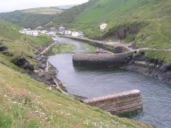Boscastle Harbour, Cornwall, looking inland.