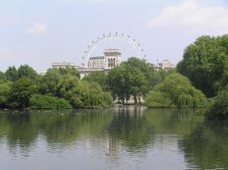 The London Eye and Horseguards, across the lake at St James Park, central London