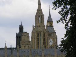 A forest of spires on the Houses of Parliament, central London