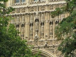 Statues on the Palace of Westminster, central London