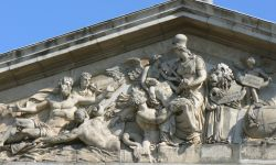 More detail of The Nelson frieze in The King William Court of The Royal Naval Colege, Greenwich.