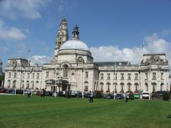 Cardiff city hall fronted by its lawn