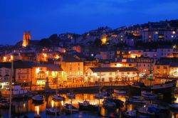Brixham harbour in Devon at night