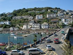 The bridge to West Looe, Cornwall, from 'Sammy's' bay window