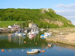 Axe harbour at Seaton, Devon.