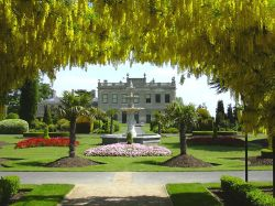 Brodsworth Hall, South Yorkshire, Laburnum arch and Hall