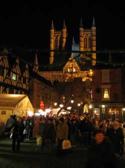 Lincoln cathedral during the Christmas market