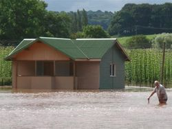 Our cricket pavilion during the floods at Newnham Bridge, Worcestershire