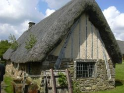 Cruck cottage at Ryedale Folk Museum, Hutton-le-Hole, North Yorkshire