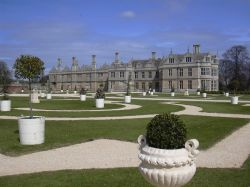 Restored formal gardens at Kirby Hall, Corby, Northamptonshire