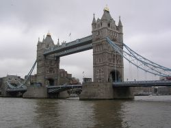 Tower Bridge on a grey day in London.