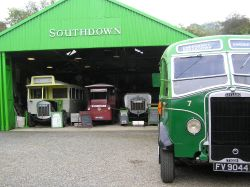Bus garage and old buses at Amberley