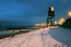 Snow-covered Dovercourt beach