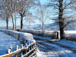 Winter scene of Ribchester in Lancashire