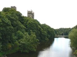 Durham Cathedral's Towers Peeping Over the Trees, Prebends Bridge in the Distance