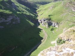 View of valley behind Peveril Castle