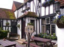 Village Stocks at the White Horse Pub, Shere, Surrey