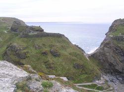 Tintagel Castle is partly on the Island, and partly on the mainland, with a huge drop between the two