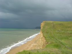 On the Coast Path Heading for West Bay, Dorset.