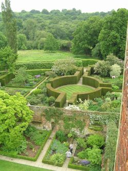 View from the tower at Sissinghurst castle garden, Kent
