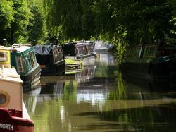 Narrowboats on the Oxford canal at Cropredy, Oxon.