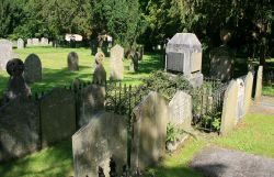 The Wordsworth family plot in the graveyard at Grasmere Church.