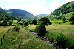 The Fells and Fields round Glencoyne Bay, Ullswater. English Lakes.