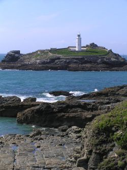 Classic view of Godrevy Lighthouse, Cornwall