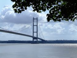 The Humber bridge as seen from the entrance to the park