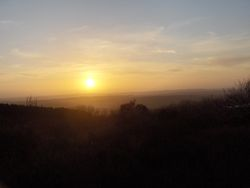 Sunset on a misty cold day at Rivington