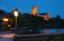 Worcester Cathedral at twilight