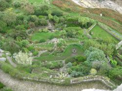 Overhead view of the gardens at St. Michaels Mt.