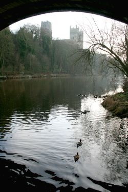 Durham Cathedral and River Wear in January.